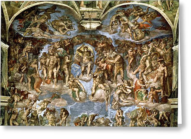 Self-portrait Greeting Cards - Sistine Chapel The Last Judgement, 1538-41 Fresco Pre-restoration Greeting Card by Michelangelo Buonarroti