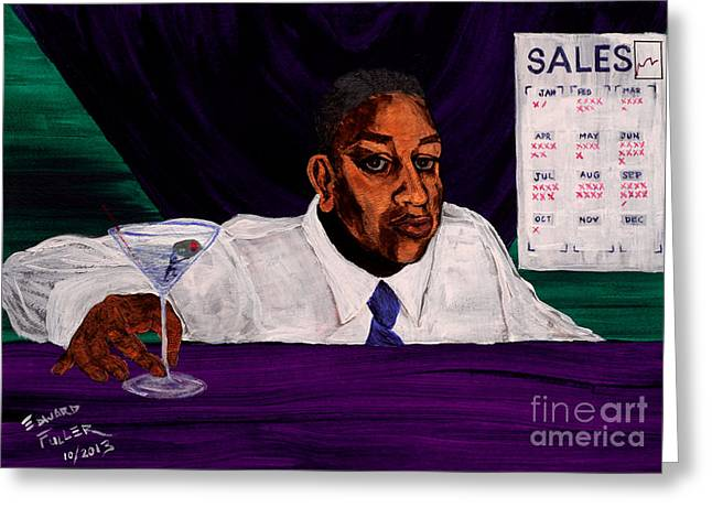 Medication Paintings Greeting Cards - Sisyphean Spirits Greeting Card by Edward Fuller