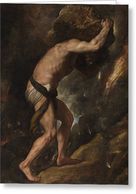 Titian Paintings Greeting Cards - Sisyphus Greeting Card by Titian