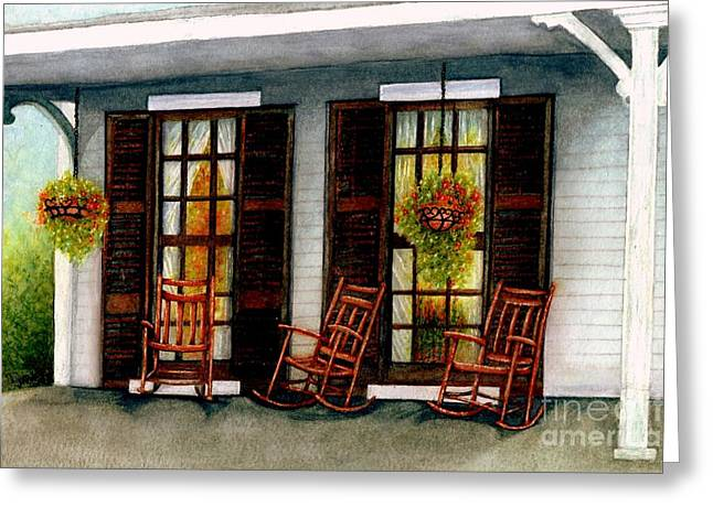 Wooden Shutter Greeting Cards - Sit a spell  Greeting Card by Janine Riley