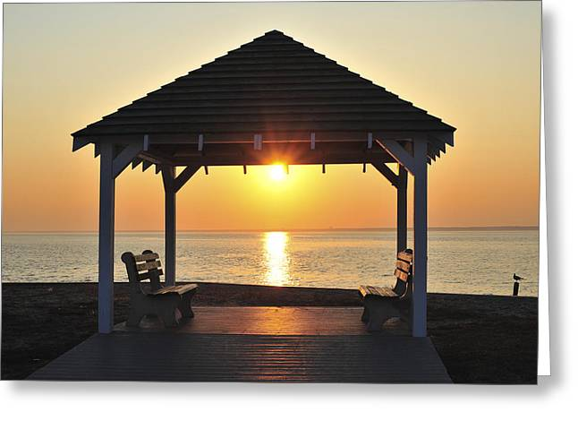 Bathroom Prints Greeting Cards - Sit Awhile Jersey Shore Gazebo Seaside New Jersey  Greeting Card by Terry DeLuco