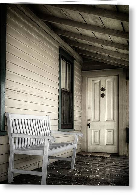 Overhang Greeting Cards - Sit Awhile Greeting Card by Joan Carroll