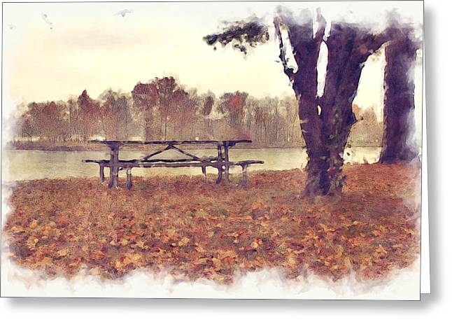Sat Mixed Media Greeting Cards - Sit in the park Greeting Card by Dan Martinez