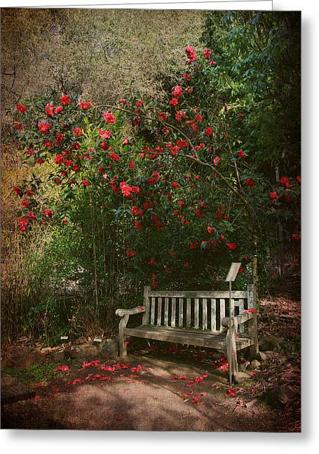 Red Flowers Greeting Cards - Sit With Me Here Greeting Card by Laurie Search
