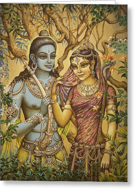 Rama Greeting Cards - Sita and Ram Greeting Card by Vrindavan Das