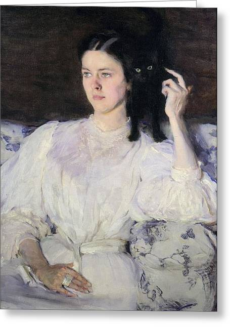 Sita And Sarita, Or Young Girl With A Cat Greeting Card by Cecilia Beaux