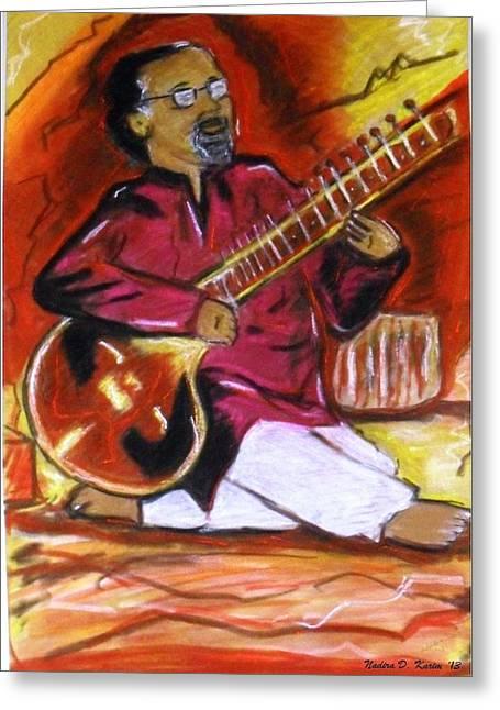Instruments Pastels Greeting Cards - Sitar player Greeting Card by Nadira Karim