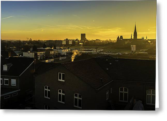 Sittard City Sunrise - View From The Roof Greeting Card by Libor Bednarik