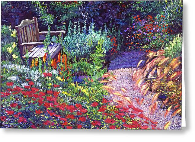 Gardenscapes Greeting Cards - Sitting Amoung The Flowers Greeting Card by David Lloyd Glover
