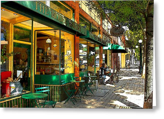 Store Fronts Digital Greeting Cards - Sitting At The Bakery Greeting Card by James Eddy