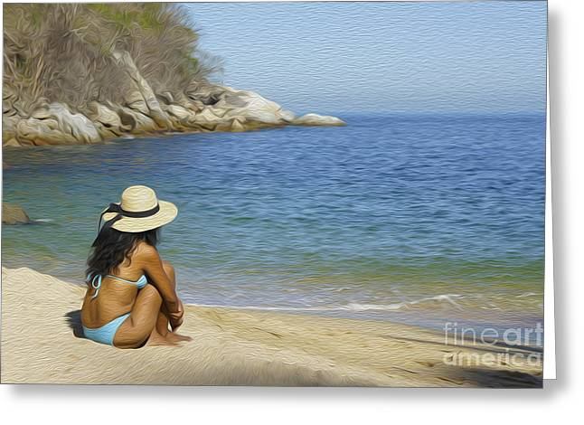 Sitting At The Beach Greeting Card by Aged Pixel