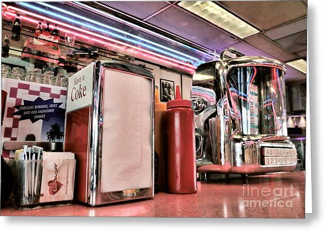 Peggy J Hughes Greeting Cards - Sitting At The Counter Greeting Card by Peggy J Hughes