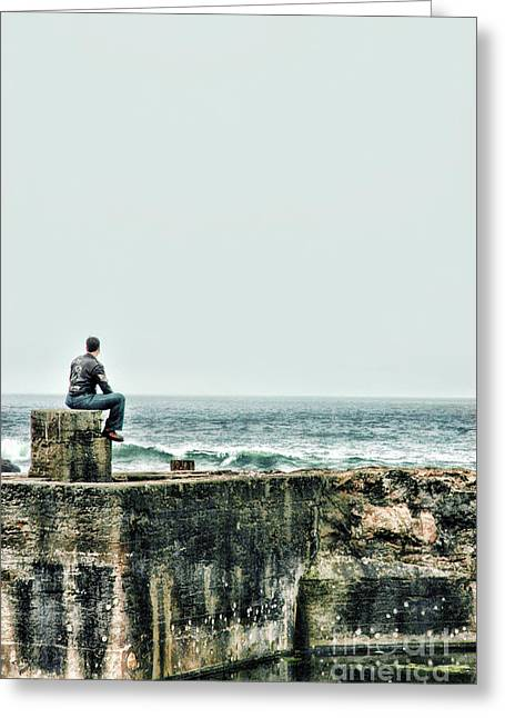 Sitting Photographs Greeting Cards - Sitting At The Edge Of The Pacific Coastline Greeting Card by HD Connelly