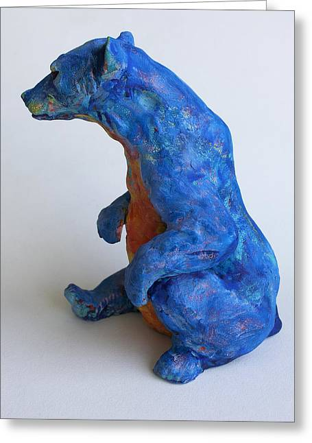 Ceramic Sculpture Ceramics Greeting Cards - Sitting bear-sculpture Greeting Card by Derrick Higgins