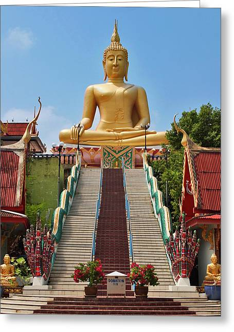 Bangkok Greeting Cards - Sitting Buddha Greeting Card by Adam Romanowicz