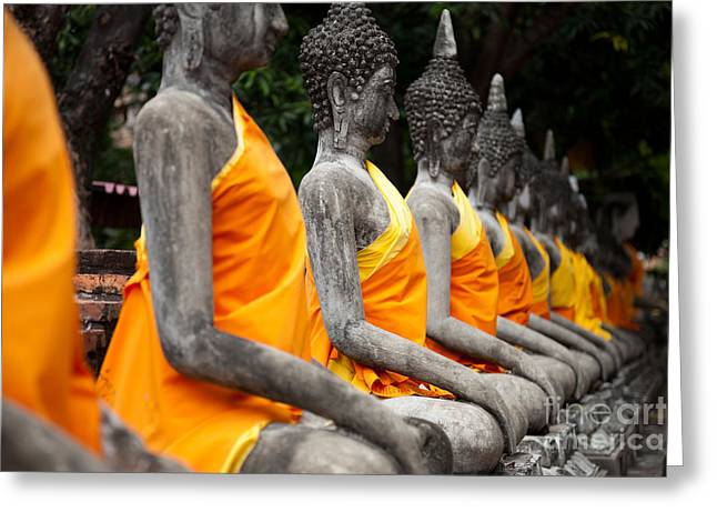 Ayuthaya Greeting Cards - Sitting Buddhas images at Wat Yai Chai Mongkol Ayutthaya Thailand Greeting Card by Fototrav Print