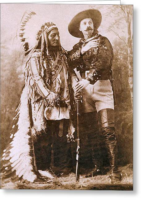 Indian Warriors Greeting Cards - Sitting Bull and Buffalo Bill Greeting Card by Unknown