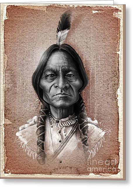 Sitting Bull Greeting Card by Andre Koekemoer