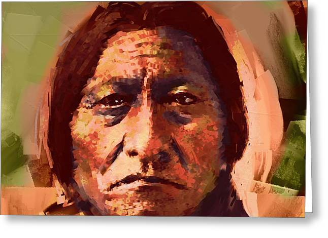 Real Face Digital Art Greeting Cards - Sitting Bull Greeting Card by Arne Hansen