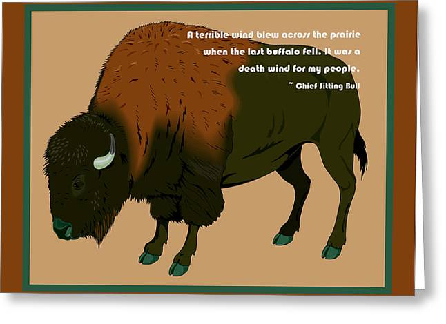 Chief Sitting Bull Greeting Cards - Sitting Bull Buffalo Greeting Card by Digital Creation