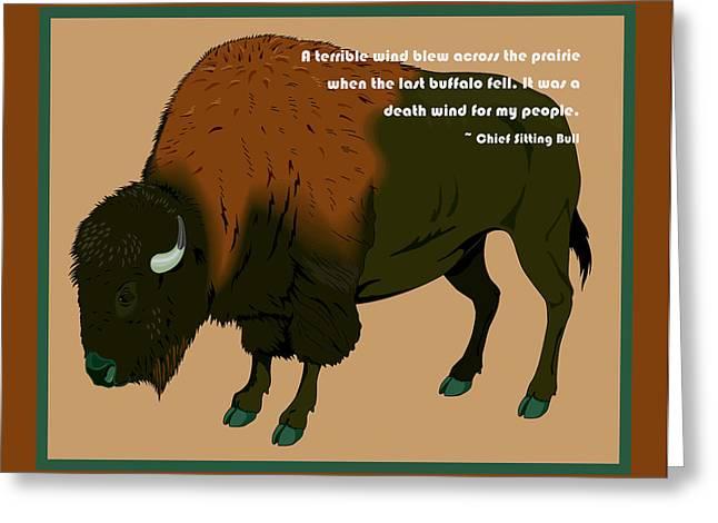 Sitting Bull Buffalo Greeting Card by Digital Creation