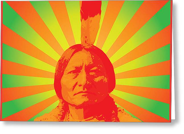 Native American Illustration Greeting Cards - Sitting Bull Greeting Card by Gary Grayson