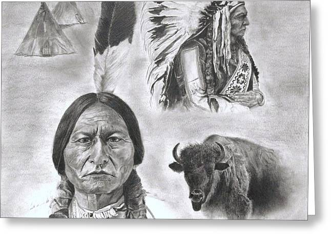 Sitting Bull Greeting Card by Jessica Hallberg