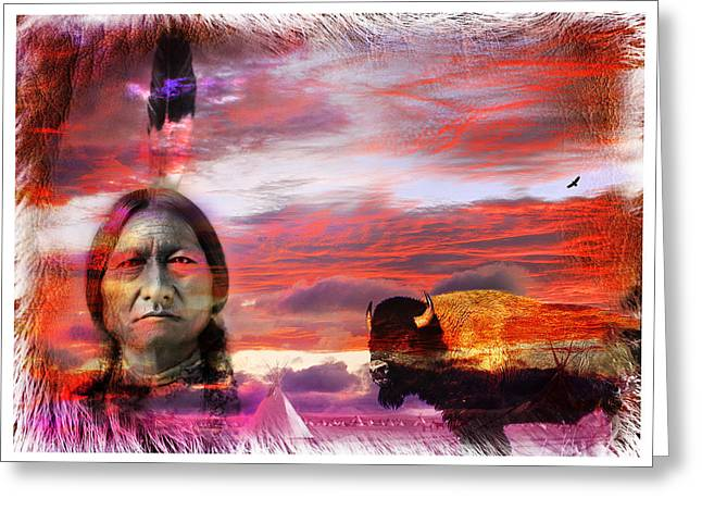 Chief Sitting Bull Greeting Cards - Sitting Bull Greeting Card by Mal Bray