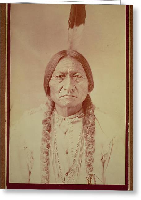 Indian Portraits Greeting Cards - Sitting Bull, Sioux Chief, C.1885 Bw Photo Greeting Card by David Frances Barry