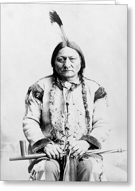 Native American Greeting Cards - Sitting Bull Greeting Card by War Is Hell Store