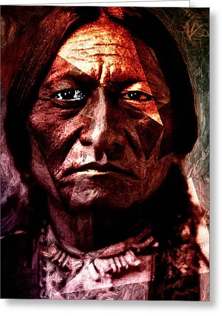 Human Tragedy Greeting Cards - Sitting Bull - Warrior - Medicine Man Greeting Card by Hartmut Jager