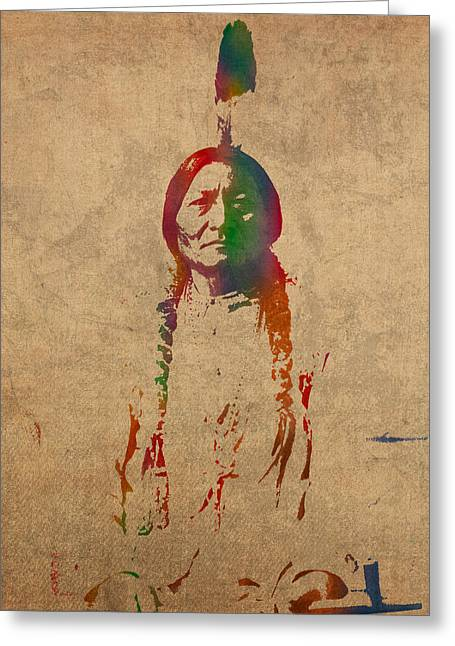 Bulls Mixed Media Greeting Cards - Sitting Bull Watercolor Portrait on Worn Distressed Canvas Greeting Card by Design Turnpike