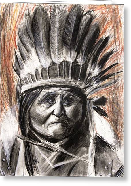 Sitting Pastels Greeting Cards - Sitting Bull with Headdress Greeting Card by Don Lee