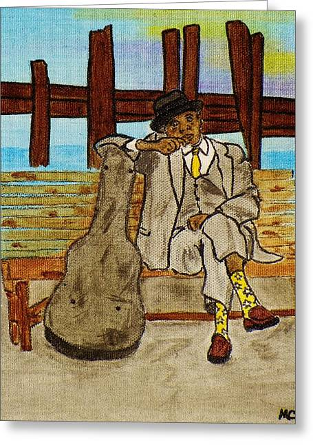 Player Greeting Cards - Sitting On The Dock Of The Bay Greeting Card by Celeste Manning
