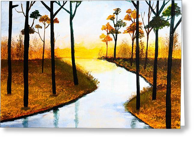 Tranquil Drawings Greeting Cards - Sitting by the Lake Greeting Card by Nirdesha Munasinghe