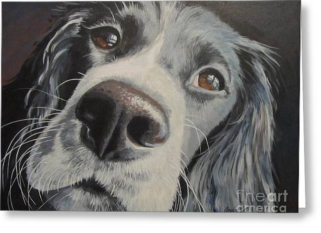 Dog Close-up Paintings Greeting Cards - By the Window Greeting Card by Anda Kett