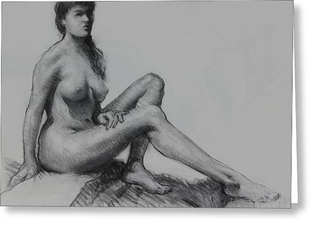 Conte Pencil Drawings Greeting Cards - Sitting figure Greeting Card by Ernest Principato
