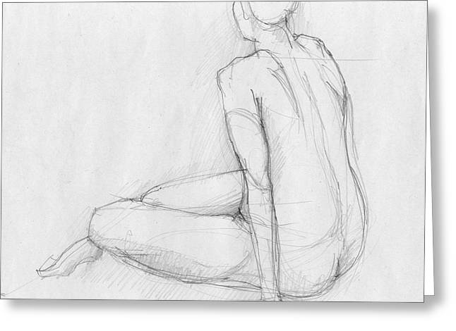 Vintage Painter Drawings Greeting Cards - Sitting figure Greeting Card by Peut Etre