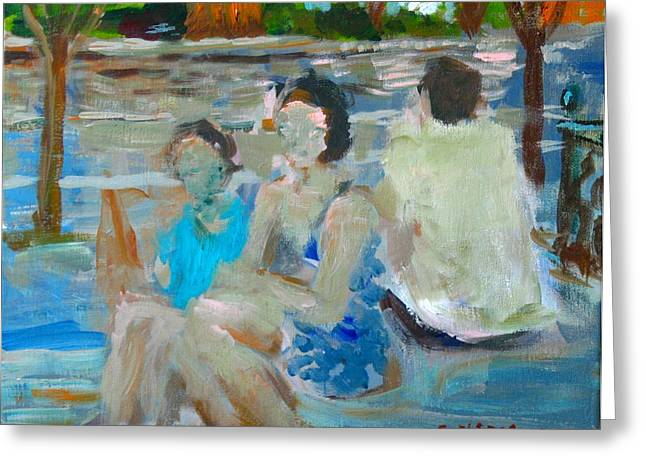 Park Scene Paintings Greeting Cards - Sitting Figures  Greeting Card by Edward Ching