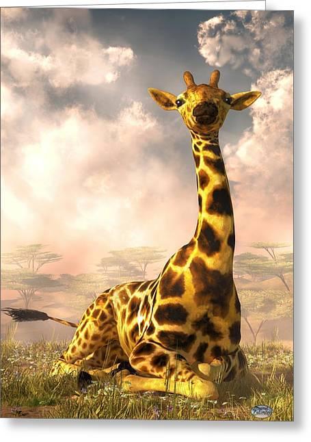 Giraffe Digital Art Greeting Cards - Sitting Giraffe Greeting Card by Daniel Eskridge