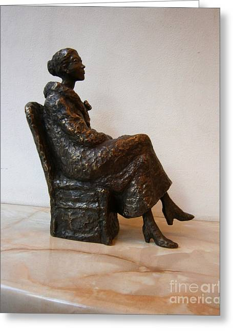 Chairs Sculptures Greeting Cards - Sitting girl Greeting Card by Nikola Litchkov