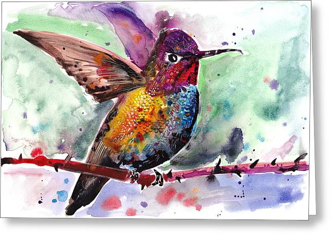 Kolibri Greeting Cards - Sitting Hummingbird Watercolor Greeting Card by Tiberiu Soos
