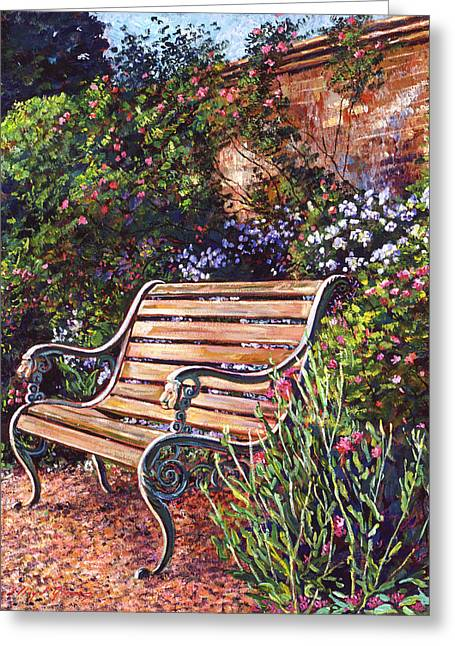 Garden Chairs Greeting Cards - SiTTING IN THE GARDEN Greeting Card by David Lloyd Glover