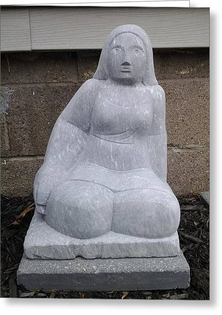 Granite Sculptures Greeting Cards - Sitting Lady Greeting Card by Edwin A Ziarko