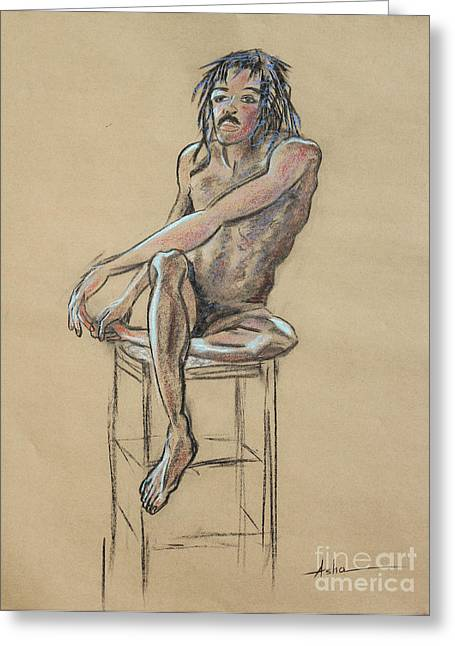 African American Man Drawings Greeting Cards - Sitting Man Holding His Foot Greeting Card by Asha Carolyn Young