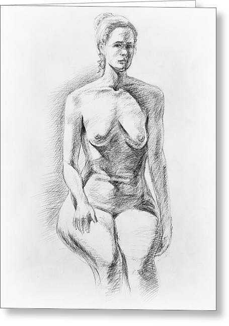 Realistic Drawings Greeting Cards - Sitting Model Study Greeting Card by Irina Sztukowski