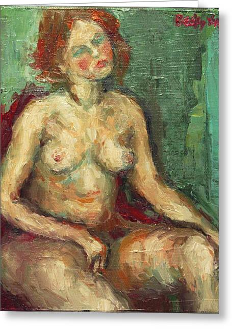 Becky Greeting Cards - Sitting Nude in Red Chiar Greeting Card by Becky Kim