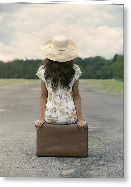 Sun Hat Greeting Cards - Sitting On A Suitcase Greeting Card by Joana Kruse