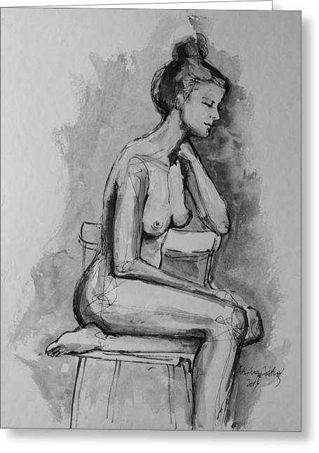 Body Mixed Media Greeting Cards - Sitting On The Chair Nude 1 Greeting Card by Dorina  Costras