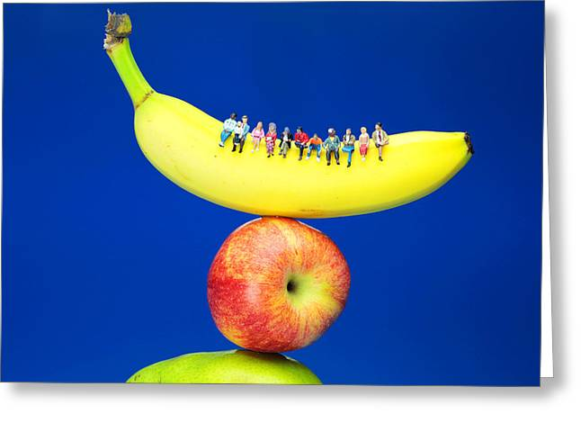 Creative People Greeting Cards - Sitting On Fruits Mountain II miniature art Greeting Card by Paul Ge